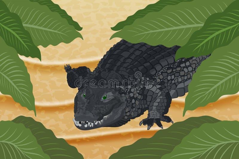 Krokodil auf dem Sand unter grünen Blättern stock abbildung