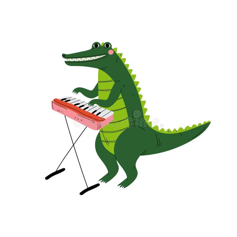 Krokodil, das Klavier, nette Karikatur-Tiermusiker-Character Playing Musical-Instrument-Vektor-Illustration spielt lizenzfreie abbildung