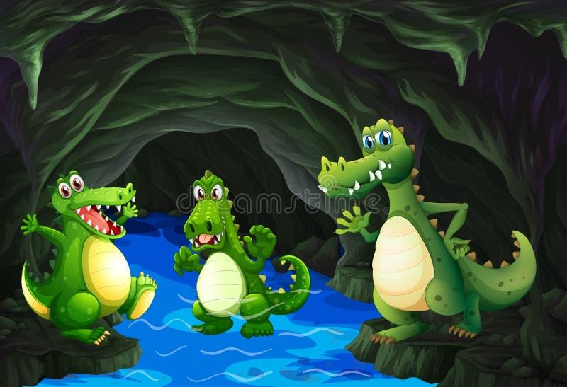 Krokodil drie die in het hol leven royalty-vrije illustratie