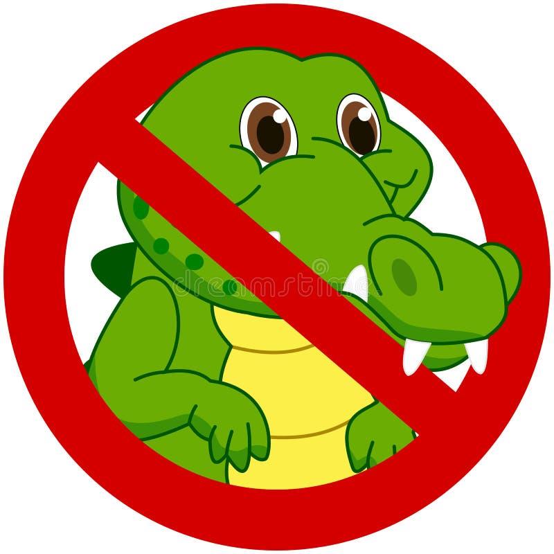 Krokodil in een verbiedend teken royalty-vrije illustratie