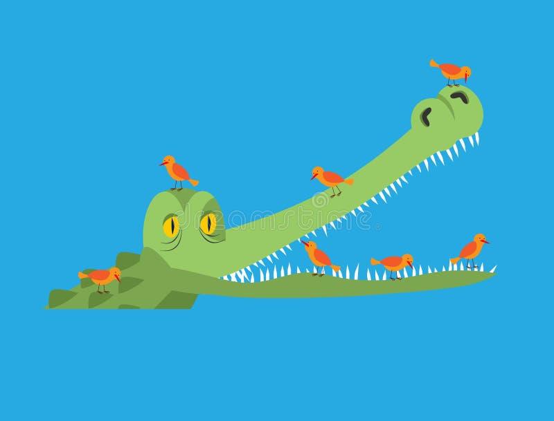 Krokodil en vogel De kleine vogels maken krokodilletanden schoon Symbioti stock illustratie