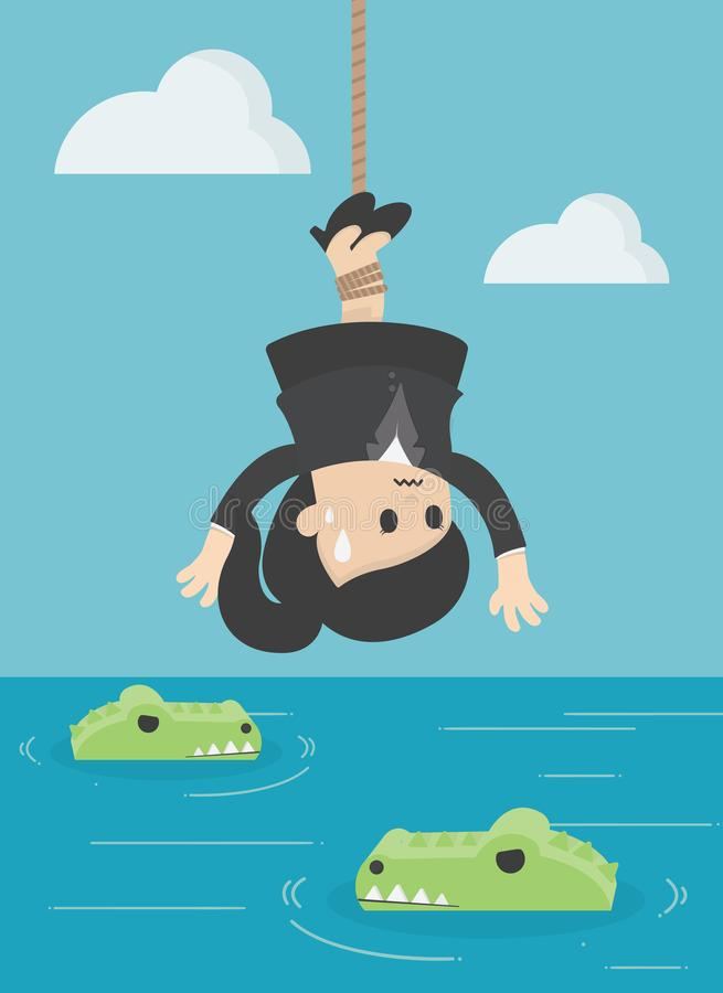 Krokodil för offer för affärsidétecknad filmillustration mänsklig Bu stock illustrationer