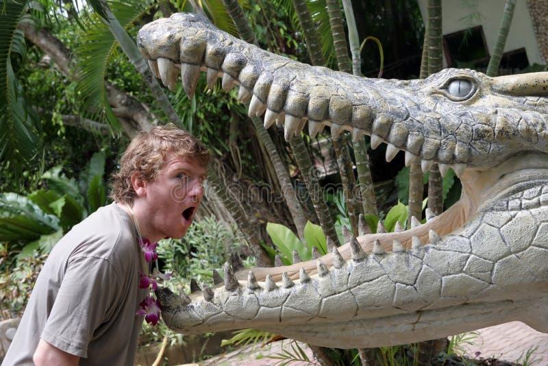 Krokodil gegen Mann stockbild