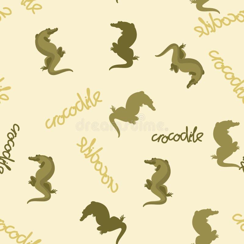 Krokodil gestileerd vector naadloos patroon op achtergrond royalty-vrije illustratie