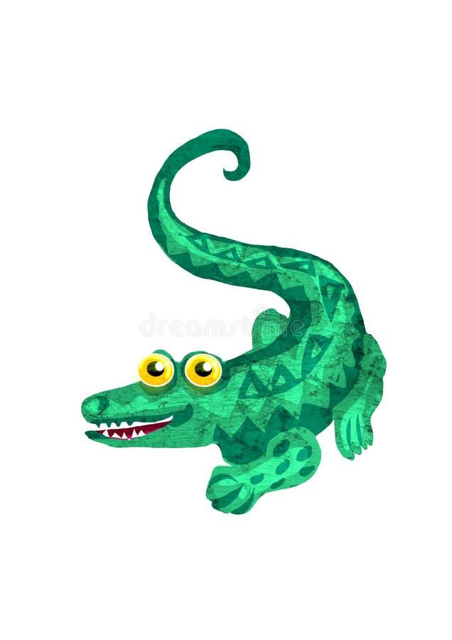 Krokodil-gestileerde illustratie die verschillende texturen gebruiken vector illustratie