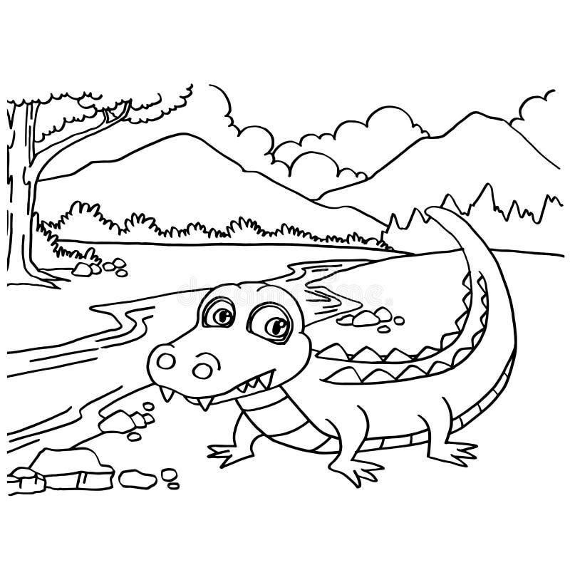Krokodil het kleuren pagina'svector stock illustratie