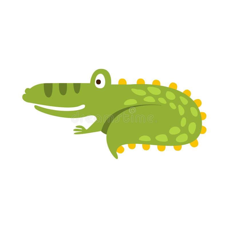 Krokodil het Krullen omhoog als Reptiel Dierlijke het Karaktertekening van Cat Flat Cartoon Green Friendly vector illustratie