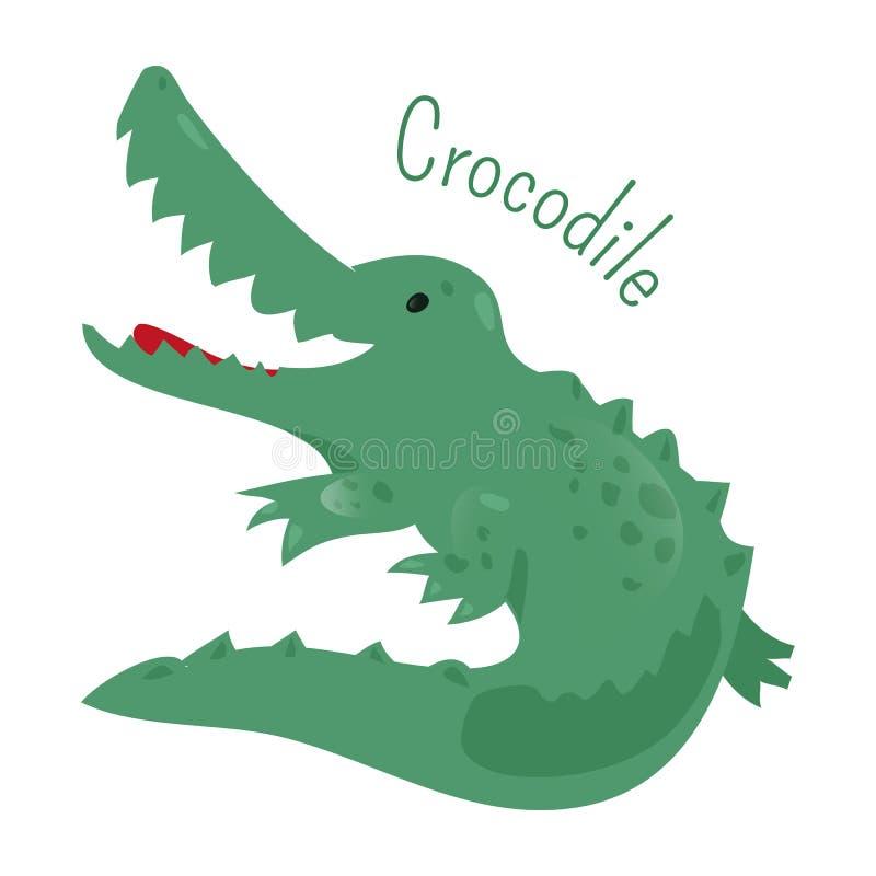 Krokodil Klistermärke för ungar Barngyckelsymbol royaltyfri illustrationer