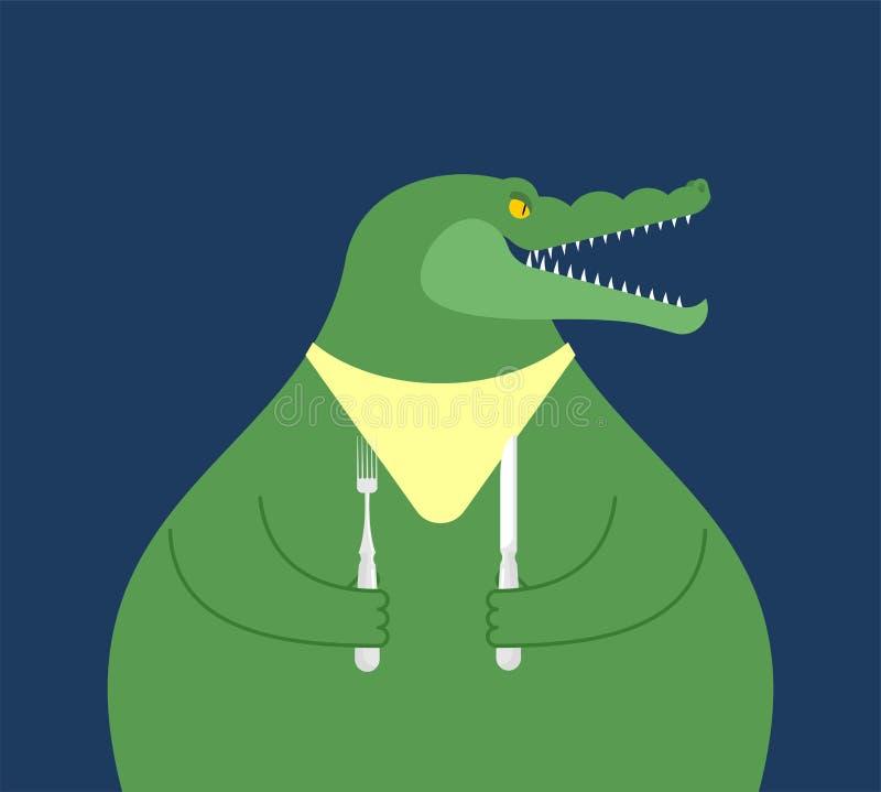 Krokodil mit Löffel und Gabelabendessen Hungriger Alligatorvektor IL stock abbildung