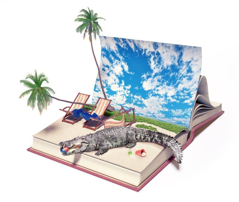 Krokodil på stranden vektor illustrationer