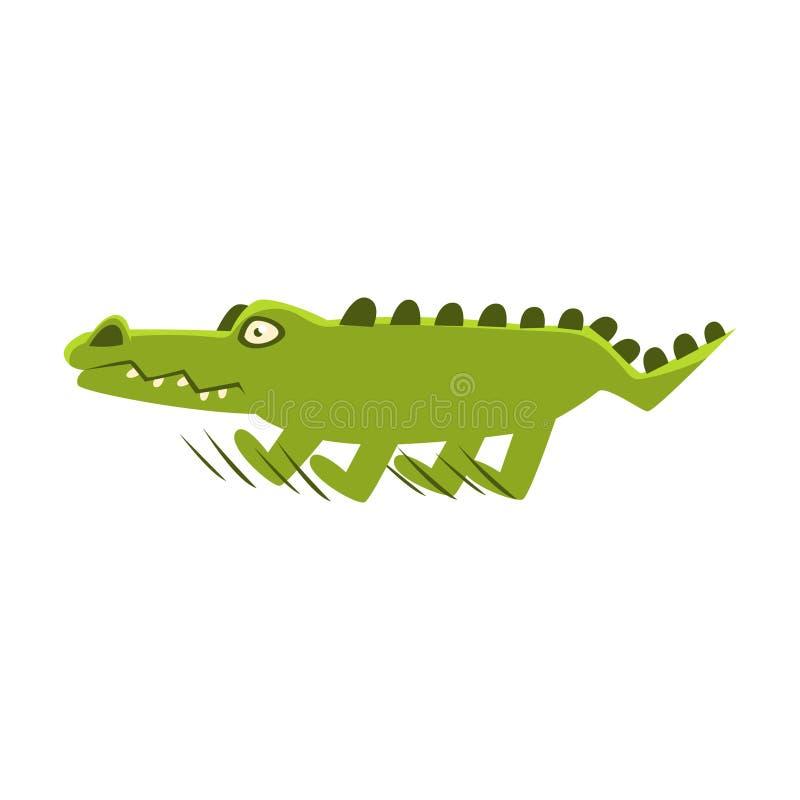 Krokodil som bryter plötsligt körningen, tecknad filmteckenet och hans dagliga aktivitetsillustration för löst djur royaltyfri illustrationer