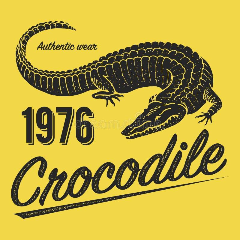 Krokodilaffisch, tryck för T-tröja Alligatoremblem eller emblem på gul bakgrund Reptilar eller amfibier tropiskt vektor illustrationer