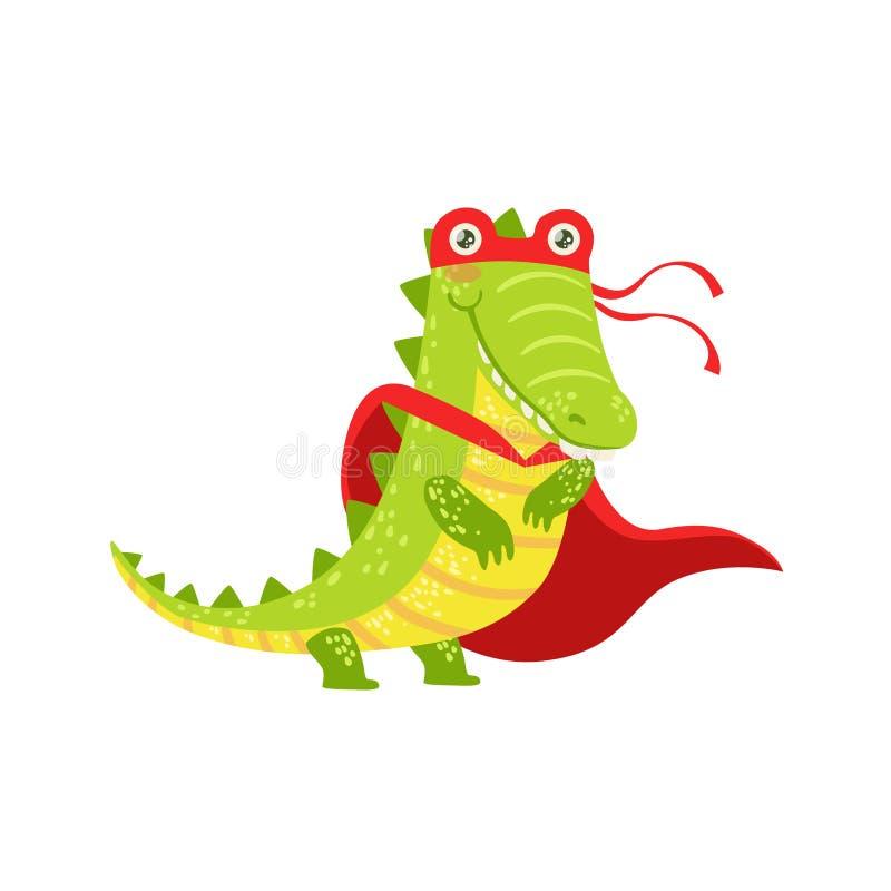 Krokodildjur som kläs som Superhero med maskerat vigilantetecken för udde ett komiker vektor illustrationer
