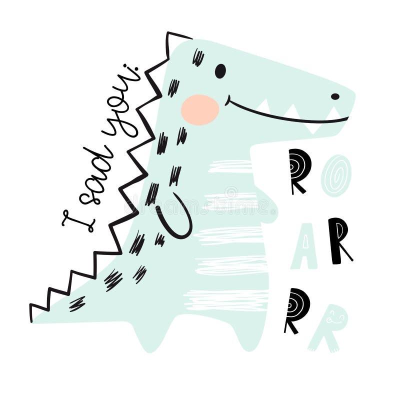 Krokodilen behandla som ett barn den gulliga tryckuppsättningen dinosaur Kallt afrikanskt djur royaltyfri illustrationer