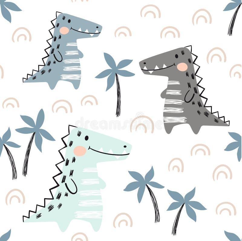Krokodilen behandla som ett barn den sömlösa modellen Scandinavian gulligt tryck för dinosaurie royaltyfri illustrationer