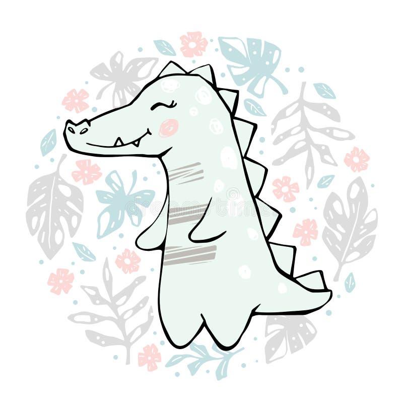 Krokodilen behandla som ett barn det gulliga trycket f?r flickan Kallt afrikanskt djur stock illustrationer