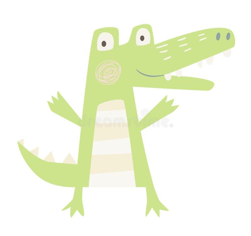 Krokodilen behandla som ett barn trycket vektor illustrationer