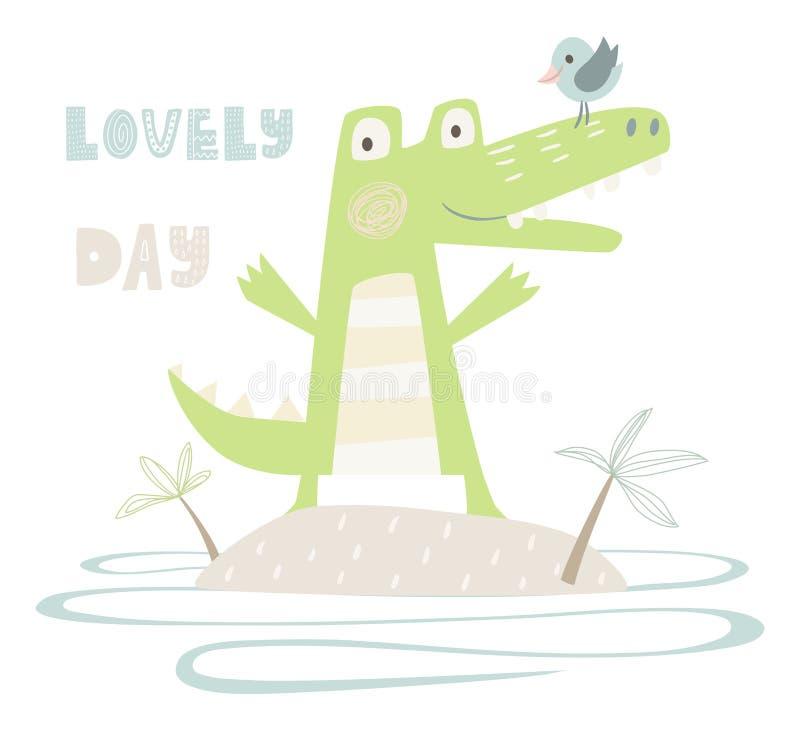 Krokodilen behandla som ett barn trycket royaltyfri illustrationer