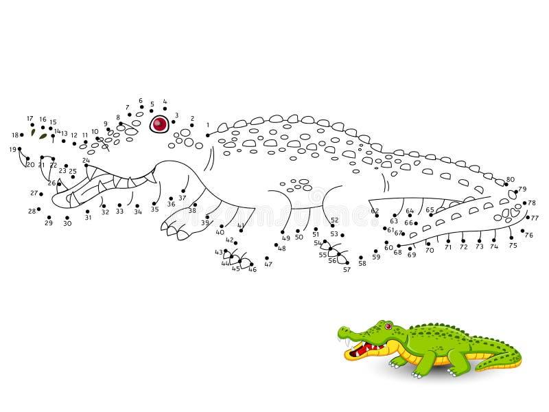 Krokodilen förbinder prickarna och färgar royaltyfri illustrationer