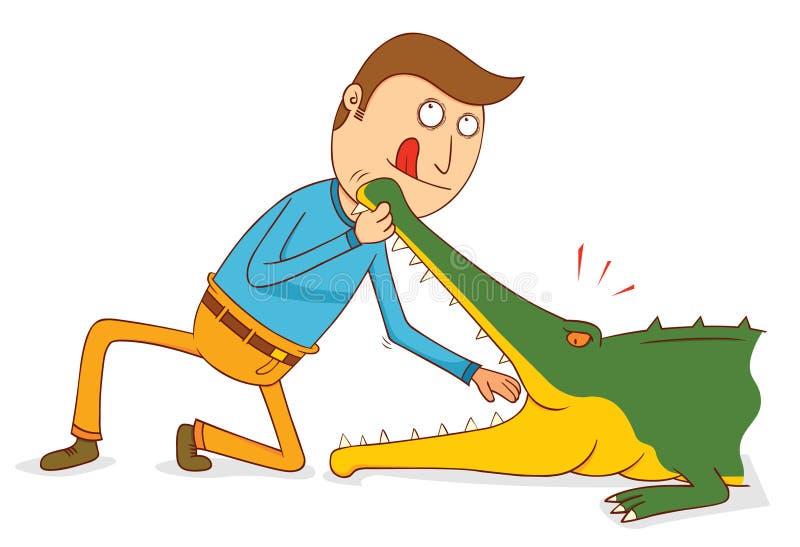 Krokodilen Show-försöker inte detta hemmastatt stock illustrationer
