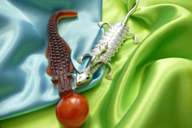 Krokodiler och tomat arkivfoton