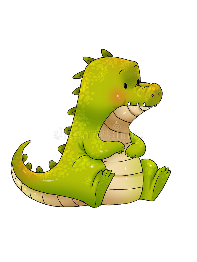 Krokodilkarikatur stockbild
