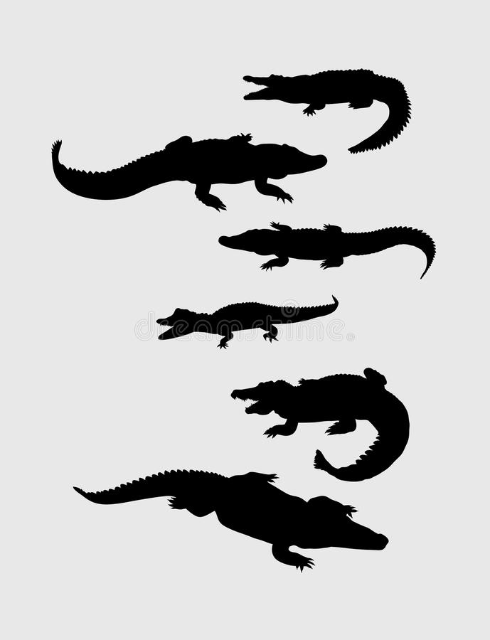 Krokodilkonturer vektor illustrationer