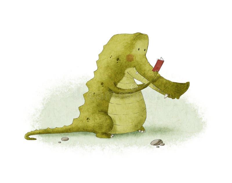 Krokodilläsning royaltyfri illustrationer