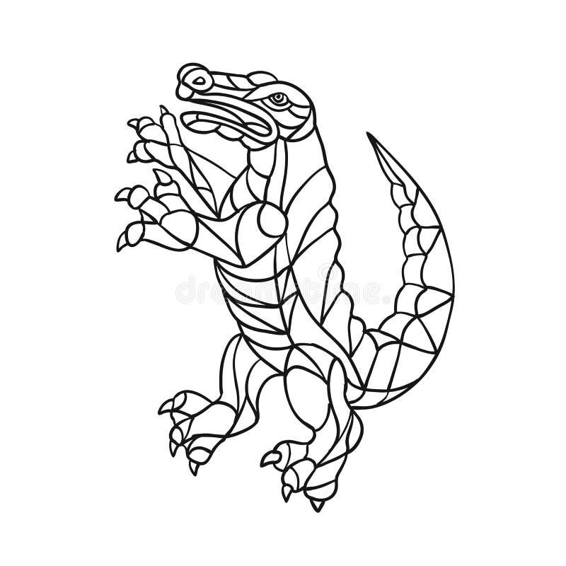 Krokodille het Steigeren Zwart-wit Mozaïek royalty-vrije illustratie