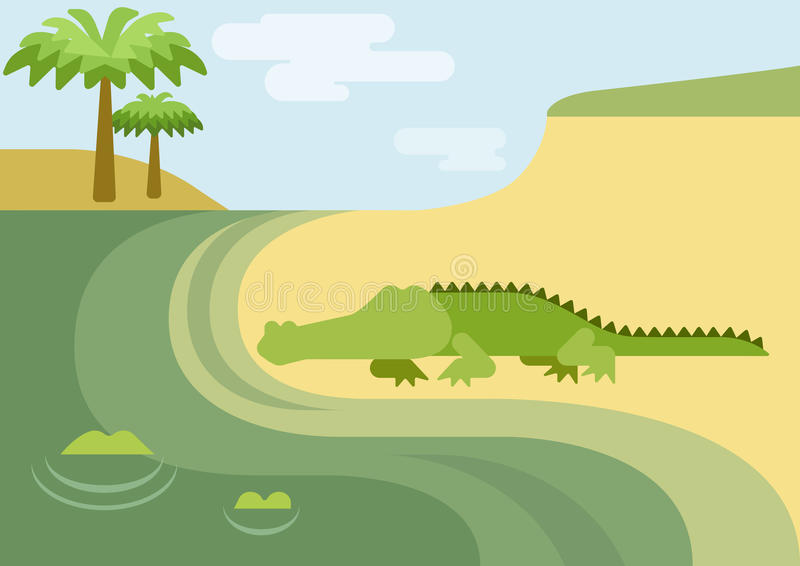 Krokodille vlak het beeldverhaal wild dierlijk reptiel van de gatorkrokodil stock illustratie