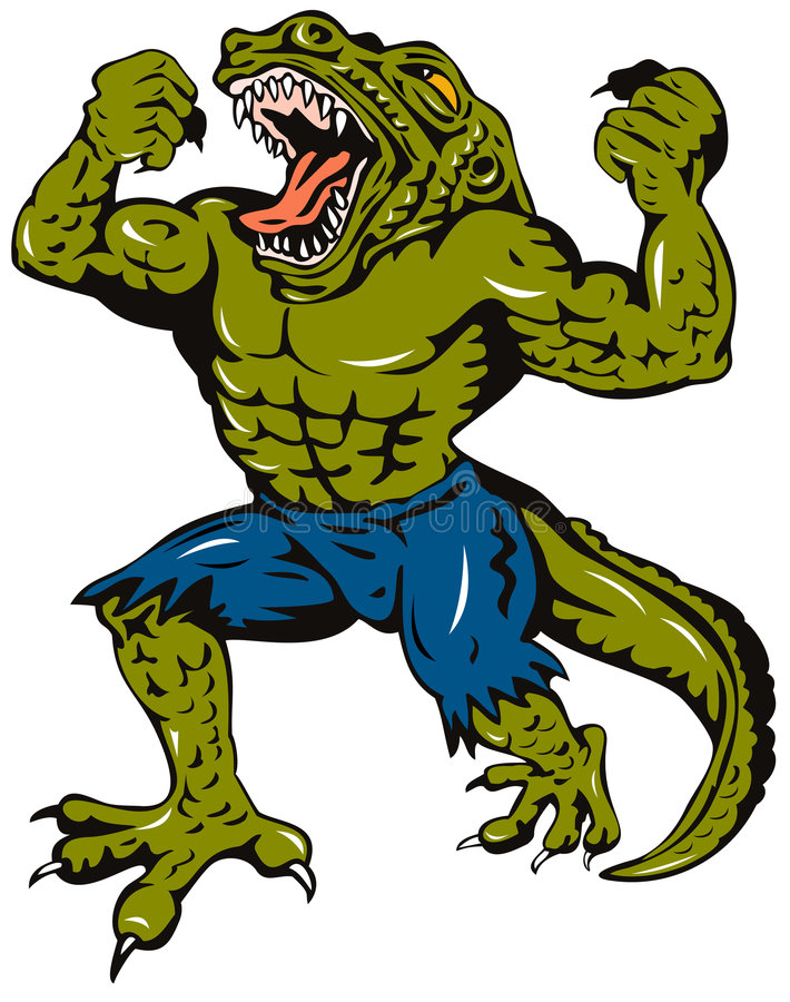 krokodilman vektor illustrationer