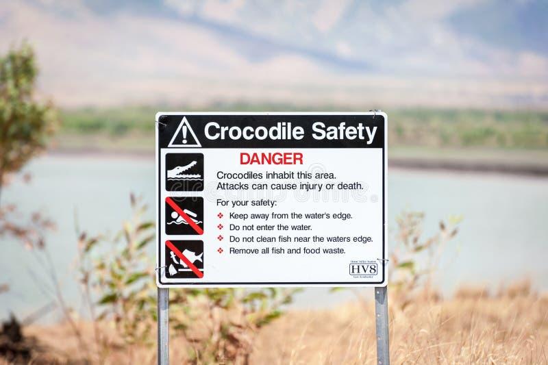 Krokodilvarning undertecknar i vildmark Australien fotografering för bildbyråer