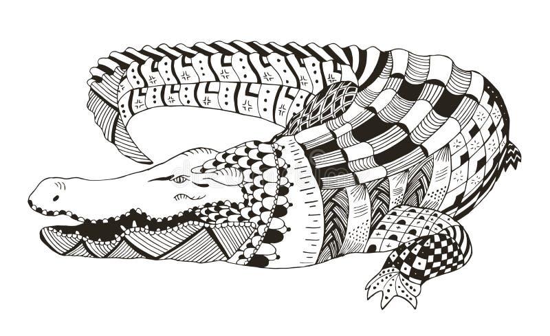 Krokodilzentangle stiliserade, vektorn, illustrationen, modell royaltyfri illustrationer