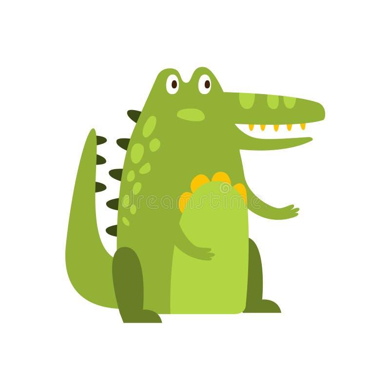 Krokodilzitting rechtstreeks zoals Groene Vriendschappelijke Reptiel Dierlijke het Karaktertekening van het Mensen Vlakke Beeldve stock illustratie