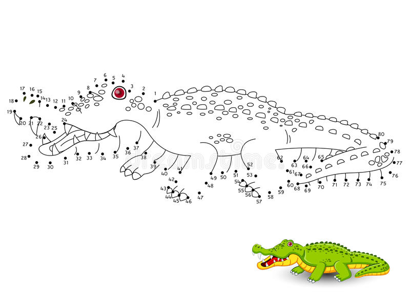 Krokodyl Łączy kropki i barwi royalty ilustracja