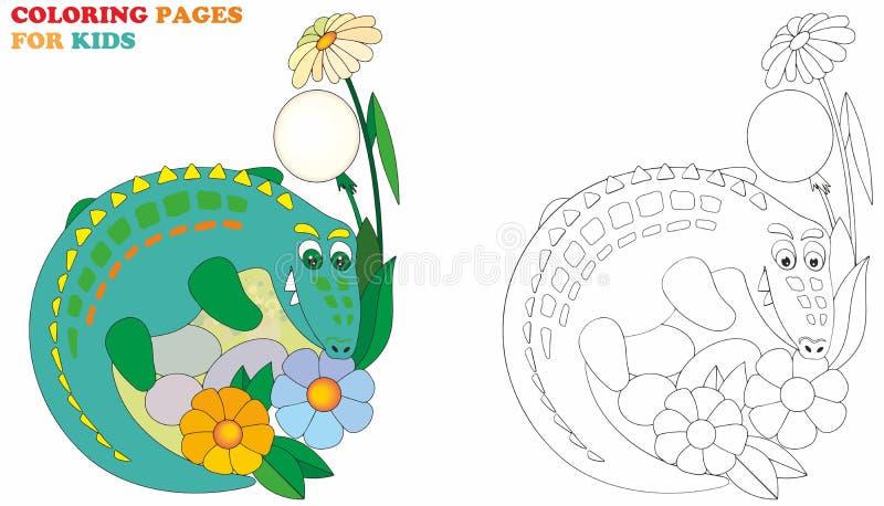 Krokodyl, barwi strony dla dzieciaków Wektorowy ilustracyjny łatwy editable dla książkowego projekta ilustracja wektor