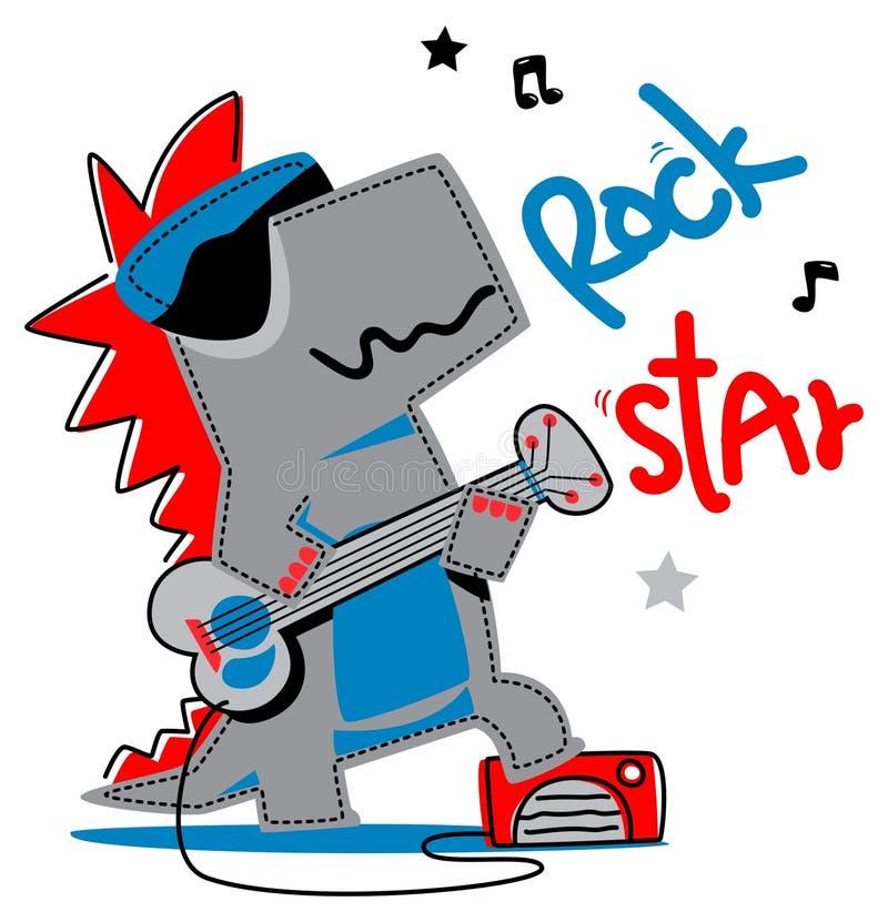 Krokodyl bawić się rockowej gitary graficznego projekt ilustracji