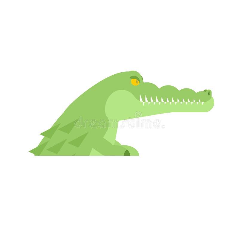 Krokodyl głowa Aligatora kaganiec odizolowywający drapieżnika zwierzę Vect ilustracji