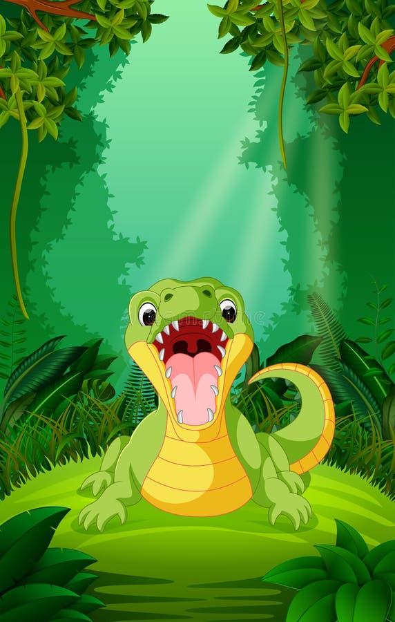 Krokodyl w jasnym i zielonym lesie ilustracja wektor