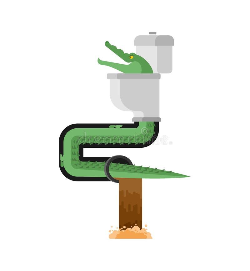Krokodyl w kanale ściekowym Aligator w kanalizaci drymbie drapieżnika zwierzę ilustracji