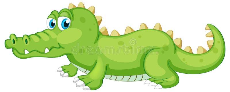 Krokodyl zielony na białym tle ilustracji