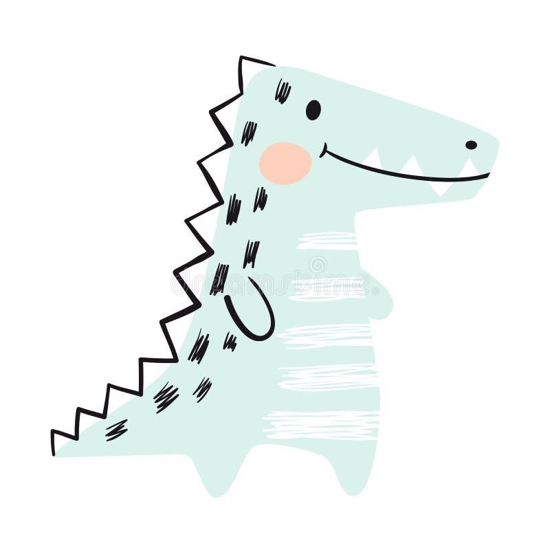 Krokodyla dziecka druku śliczny set dinosaury Chłodno afrykański zwierzę royalty ilustracja