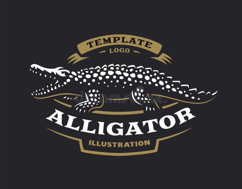 Krokodyla logo - wektorowa ilustracja Aligatora emblemata projekt royalty ilustracja