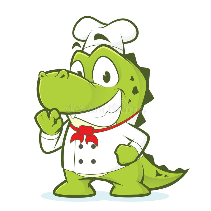 Krokodyla lub aligatora szef kuchni ilustracji