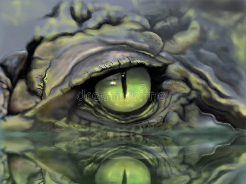 krokodyla oka obrazka nakreślenie ilustracja wektor