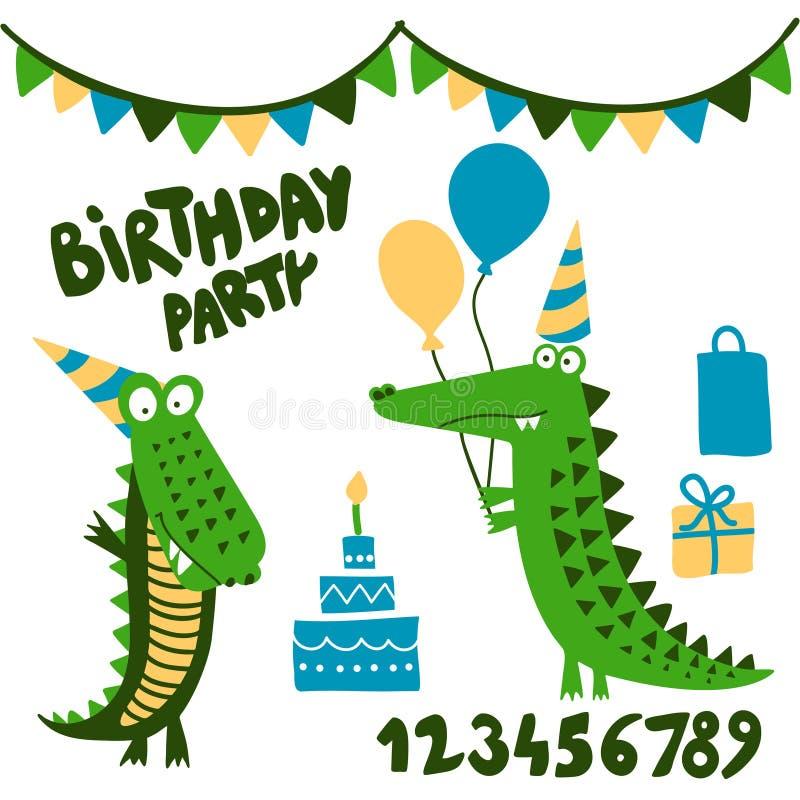 Krokodyla przyjęcia urodzinowego druku projekt z liczbami śmieszna ręka rysujący doodle, kreskówka aligator ilustracja wektor