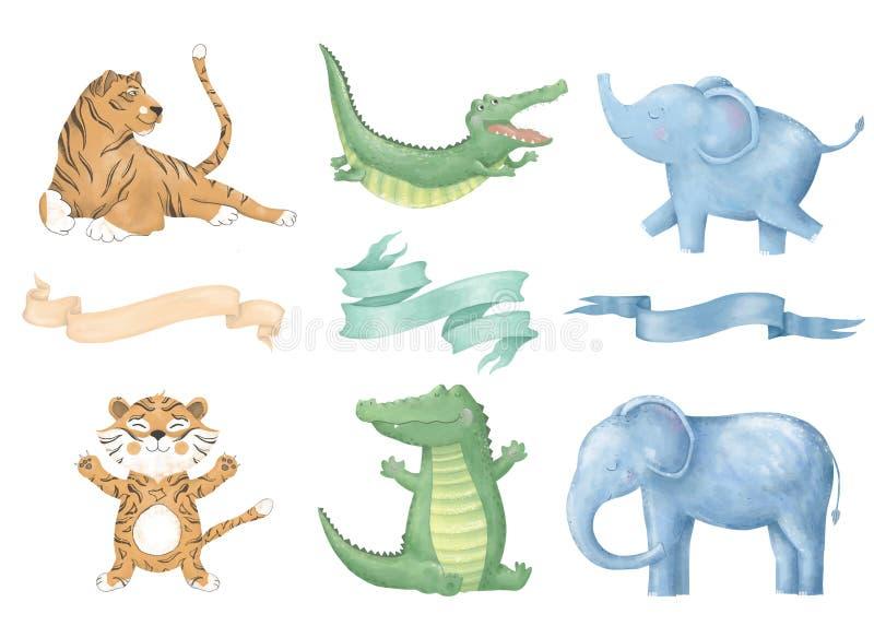 Krokodyla tygrysiego słonia klamerki sztuki cyfrowy kot z faborkami śliczny zwierzę i kwiatami dla karty, plakaty, na bielu obrazy royalty free