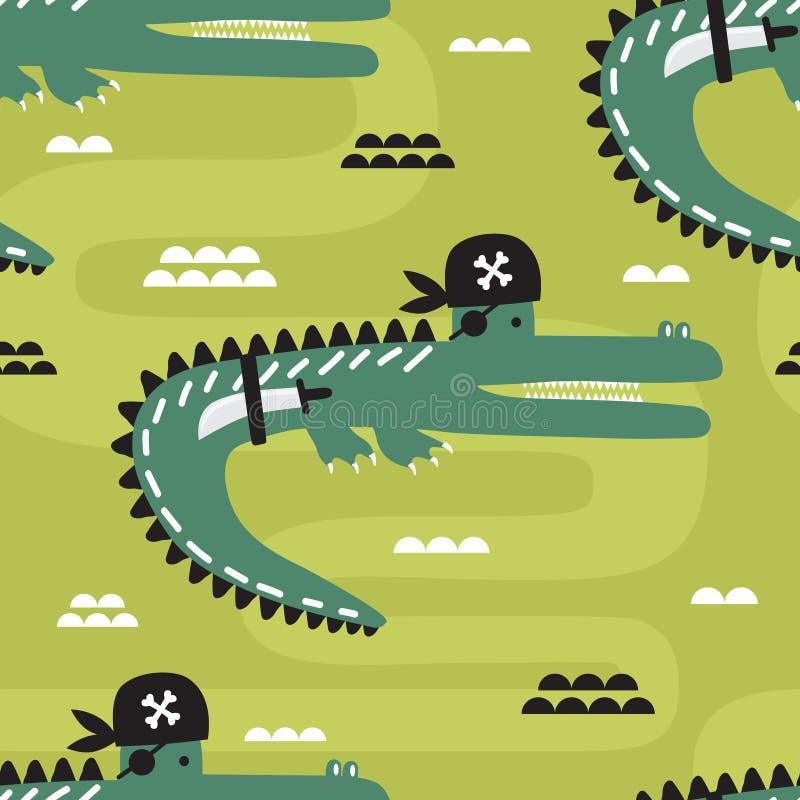 Krokodyle - piraci, kolorowy bezszwowy wzór ilustracja wektor