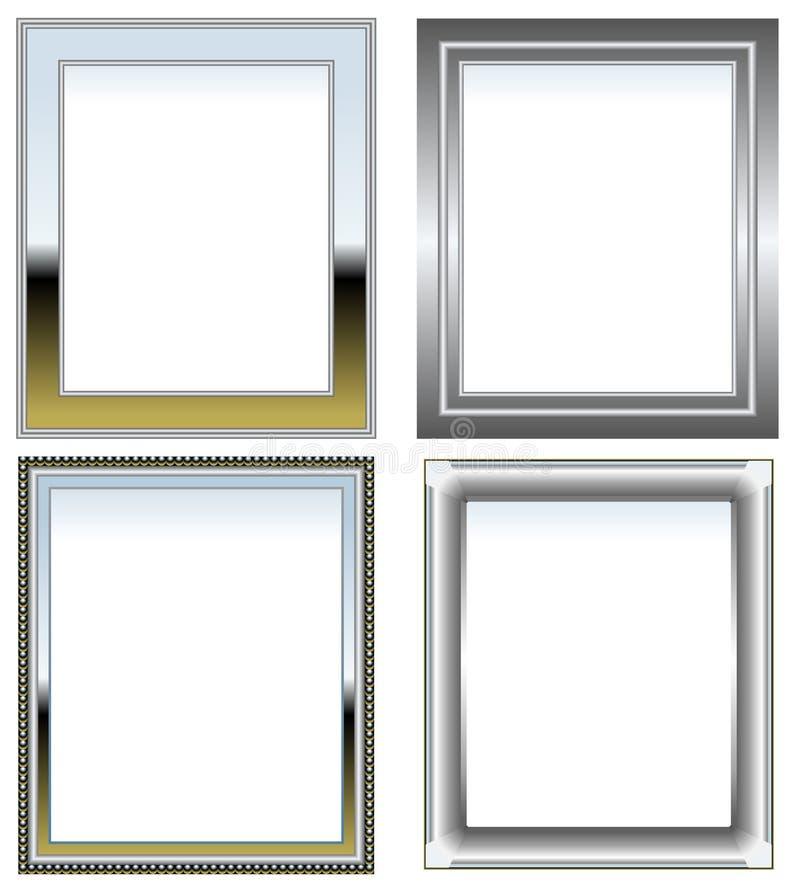 kromen inramniner silver vektor illustrationer