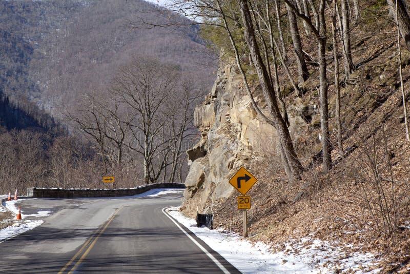 Kromme in weg door het Nationale Park van Great Smoky Mountains royalty-vrije stock foto's